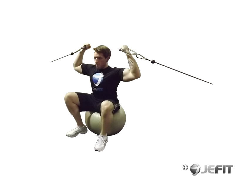 Cable Overhead Curl on Exercise Ball