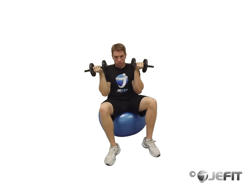 Dumbbell One Arm Arnold Press on Exercise Ball