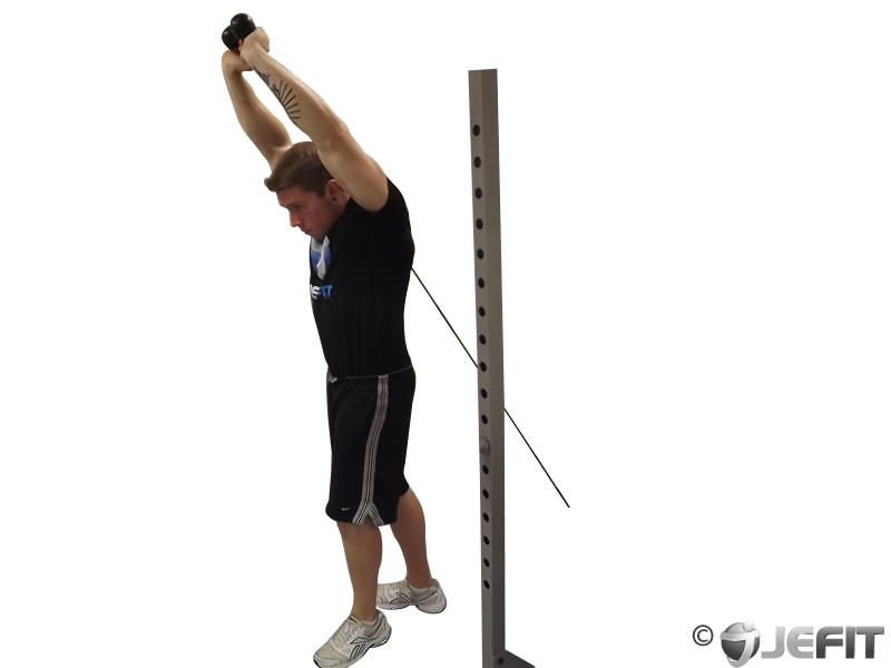 Cable Extensions Workout : Cable standing triceps extension exercise database