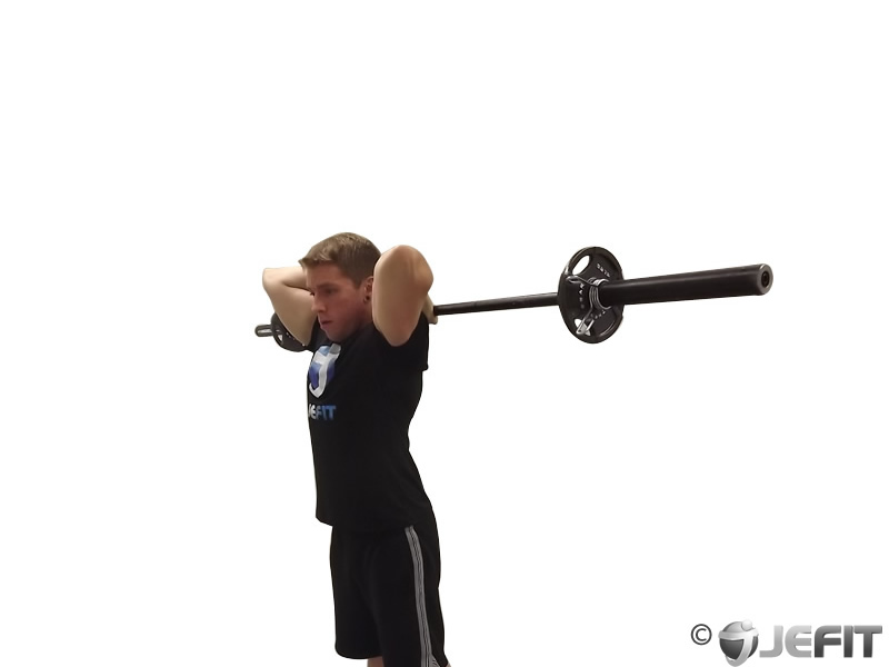 Barbell Standing Overhead Triceps Extension